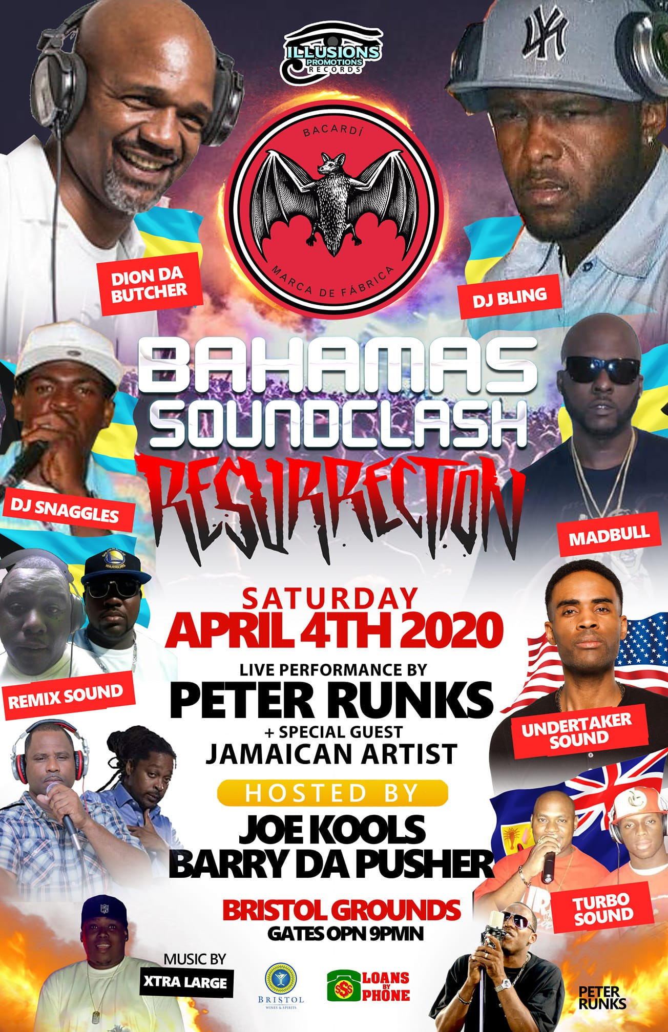 BAHAMAS SOUNDCLASH RESURRECTION WAR ABLAZE on Apr 04, 21:00@BRISTOL GROUNDS - Buy tickets and Get information on Illusions Promotions