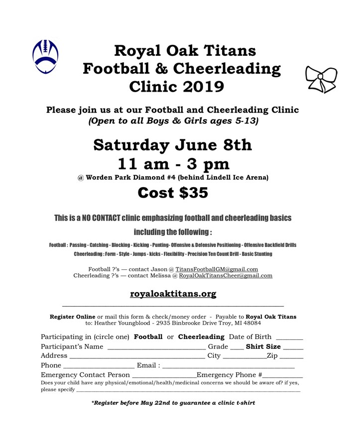 Get Information and buy tickets to FOOTBALL AND CHEER CLINIC SATURDAY JUNE 8TH on Royal Oak Titans