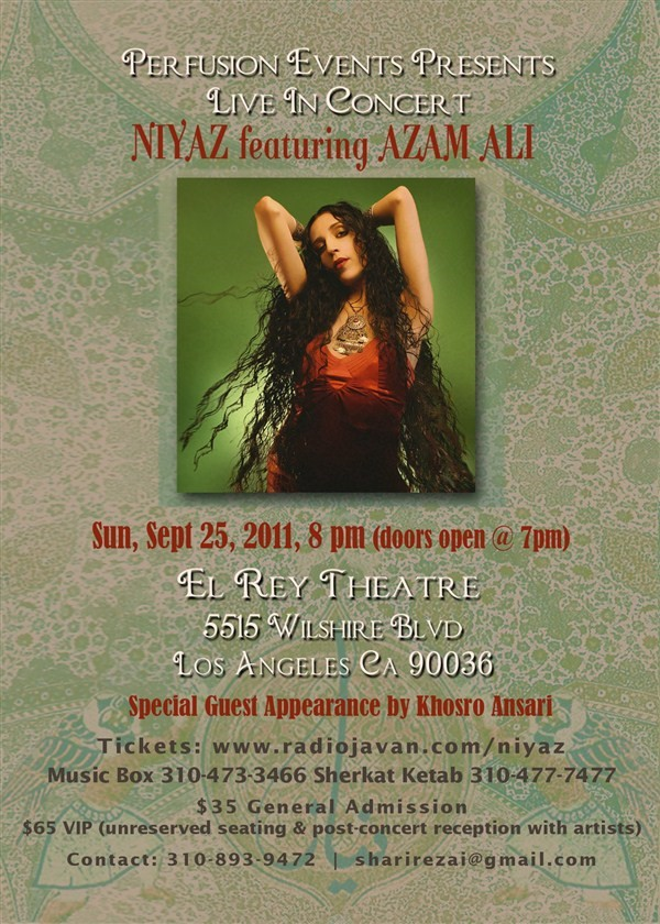 Get Information and buy tickets to Niyaz featuring Azam Ali in LA  on perfusionevents.com