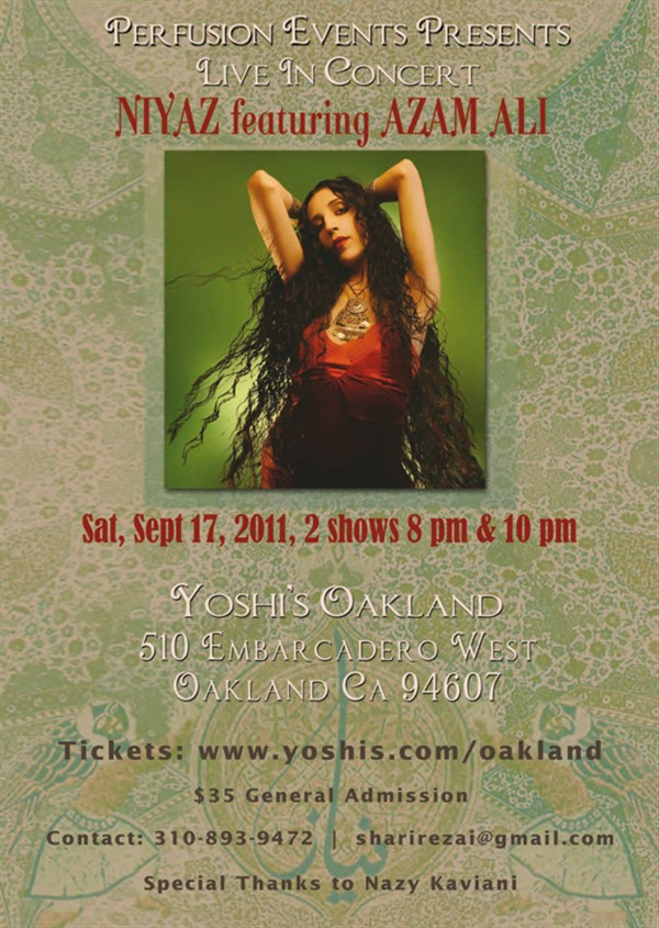 Get Information and buy tickets to Niyaz featuring Azam Ali in SF  on perfusionevents.com