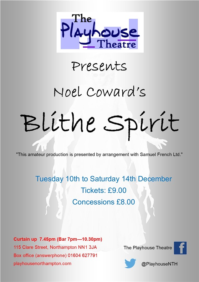 Get Information and buy tickets to Blithe Spirit  on Playhouse Theatre Northampton