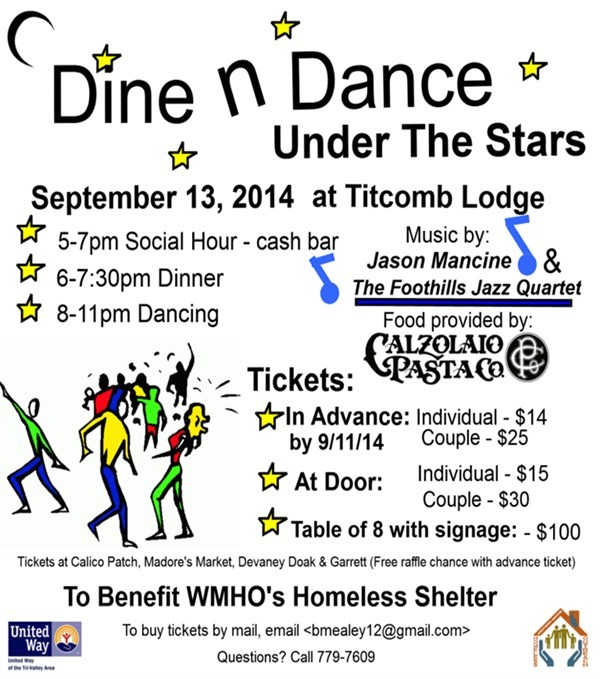 Get Information and buy tickets to Dine & Dance Under the Stars  on Western ME Homeless Outreach