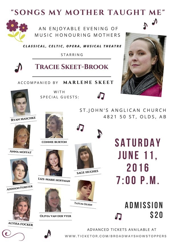 "Get Information and buy tickets to ""Songs My Mother Taught Me"" An Enjoyable Evening of Music Honouring Mothers on Broadway Showstoppers"