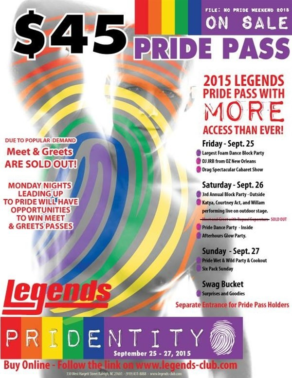 Get Information and buy tickets to Pride Pass  on Legends Nightclub