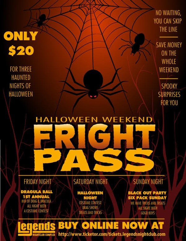Get Information and buy tickets to Fright Pass 2015  on Legends Nightclub