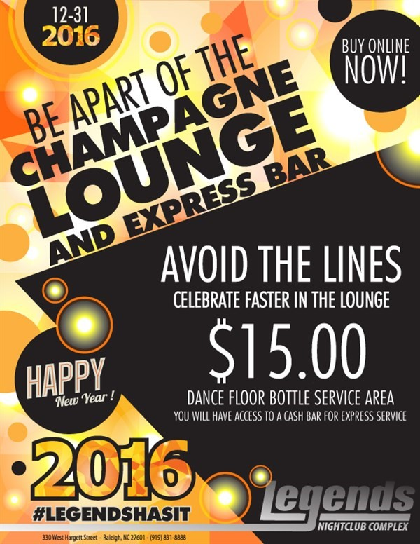 Get Information and buy tickets to NYE EXPRESS PASS  on Legends Nightclub