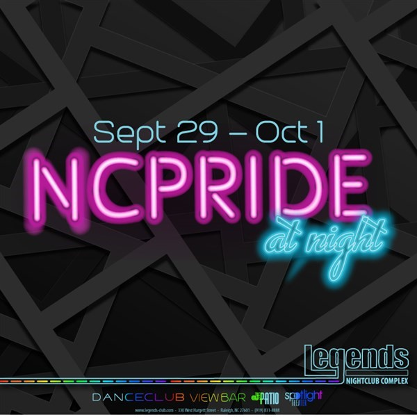 Get Information and buy tickets to NC PRIDE AT NIGHT 2017  on Legends Nightclub