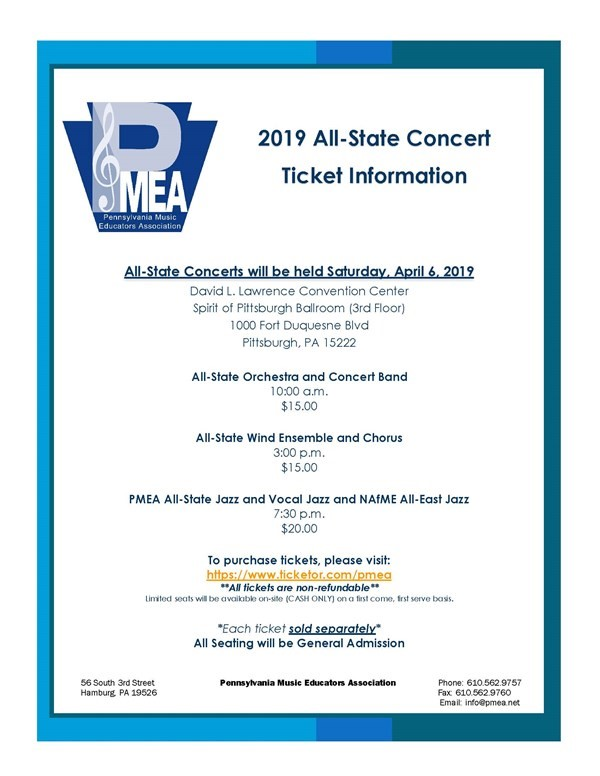 Get Information and buy tickets to 2019 PMEA All-State Orchestra & Band Concert  on PMEA