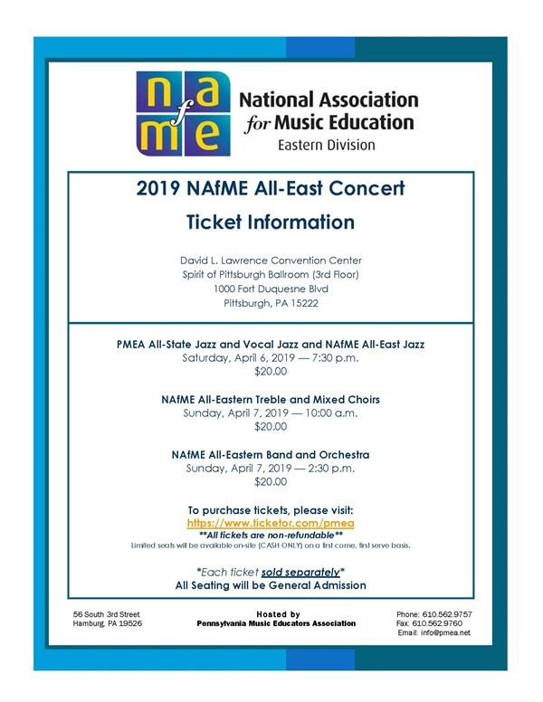 Get Information and buy tickets to 2019 PMEA All-State & NAfME All-Eastern Jazz Concerts  on PMEA