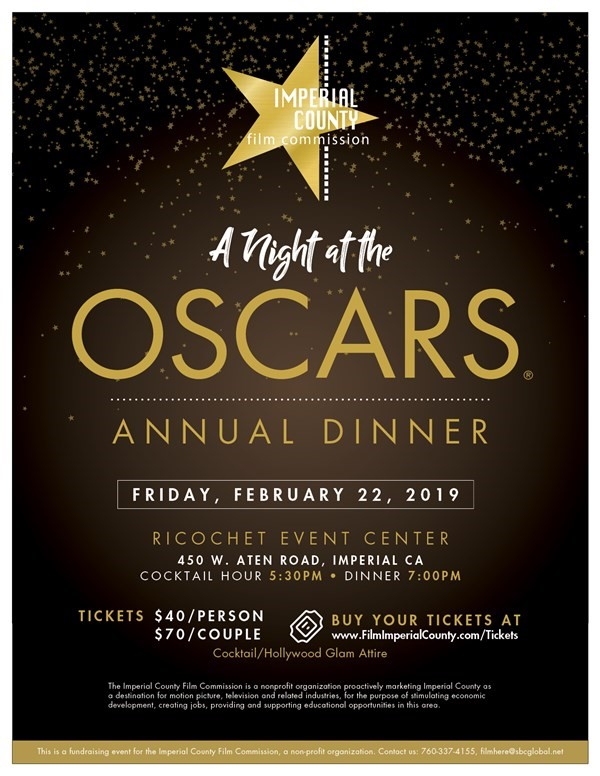 Get Information and buy tickets to A Night At The Oscars Annual Dinner on Imperial County Film Commission