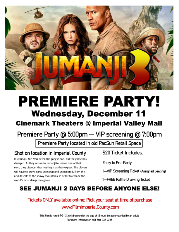 Get Information and buy tickets to Jumanji 3: The Next Level on Imperial County Film Commission