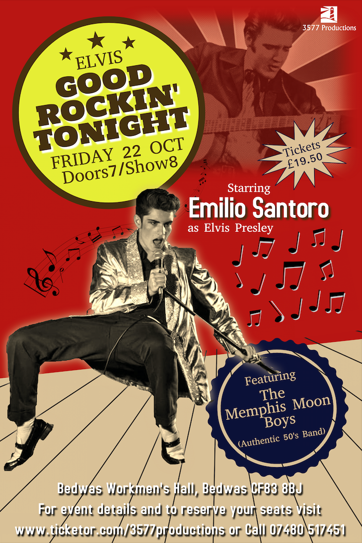 Emilio - Good Rockin' Tonight With The Memphis Moon Boys on Oct 22, 19:00@Bedwas Workmen's Hall - Pick a seat, Buy tickets and Get information on www.3577productions.com