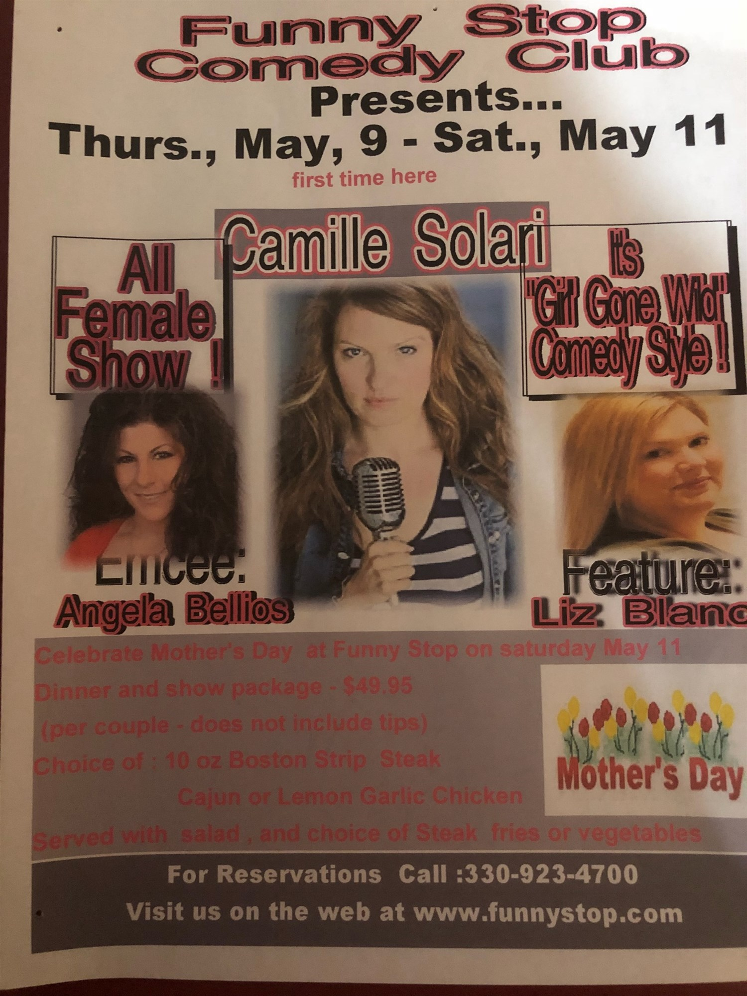 Camiile Solari / Liz Blanc 7:30 Show ALL Women Line Up Celebrating Mother's Day Wekend on May 10, 19:30@Funny Stop Comedy Club - Buy tickets and Get information on Funny Stop funnystop.online