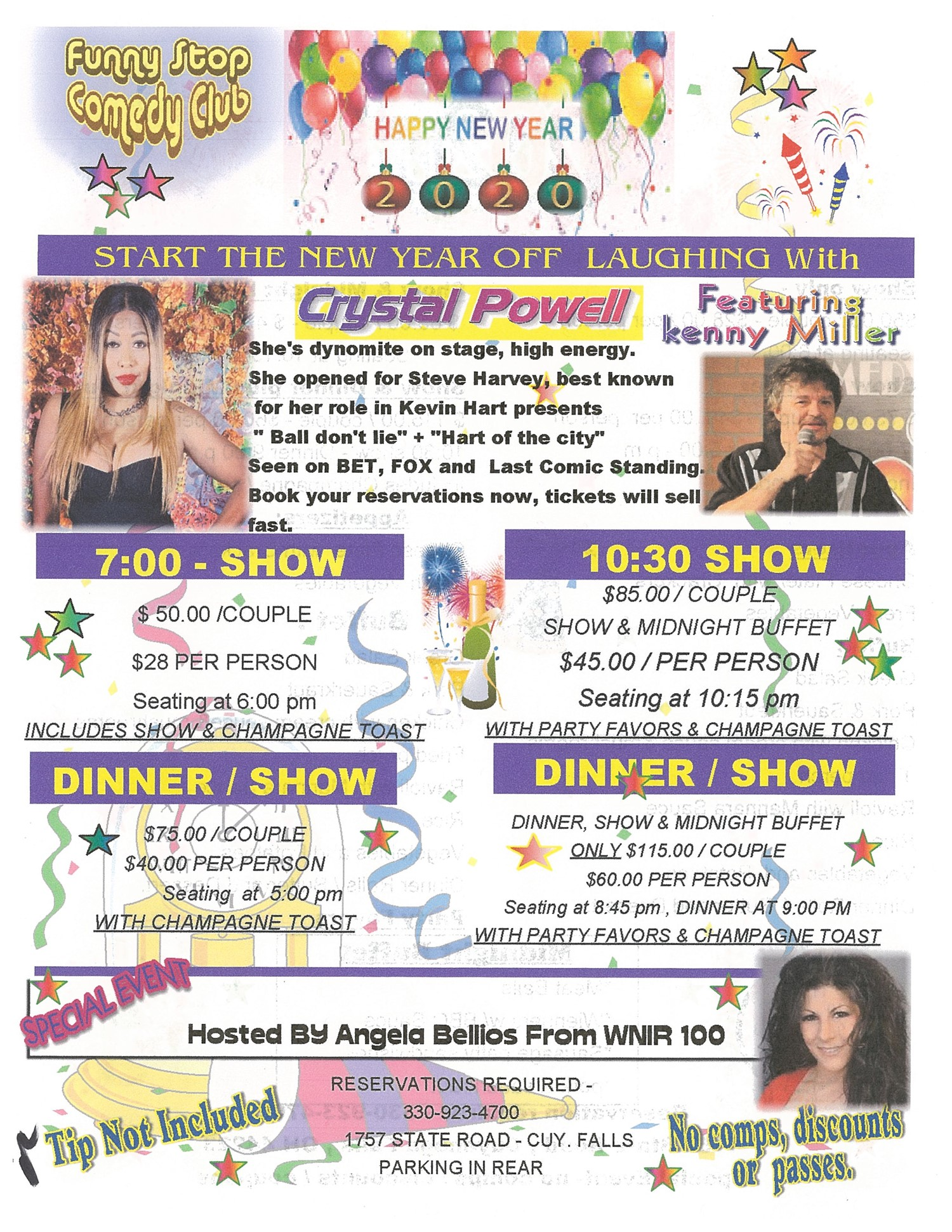 New Years Eve Show 7Pm Crystal Powell Headlining, Kenny Miller, Angela Bellios on Dec 31, 19:00@Funny Stop Comedy Club - Buy tickets and Get information on Funny Stop funnystop.online