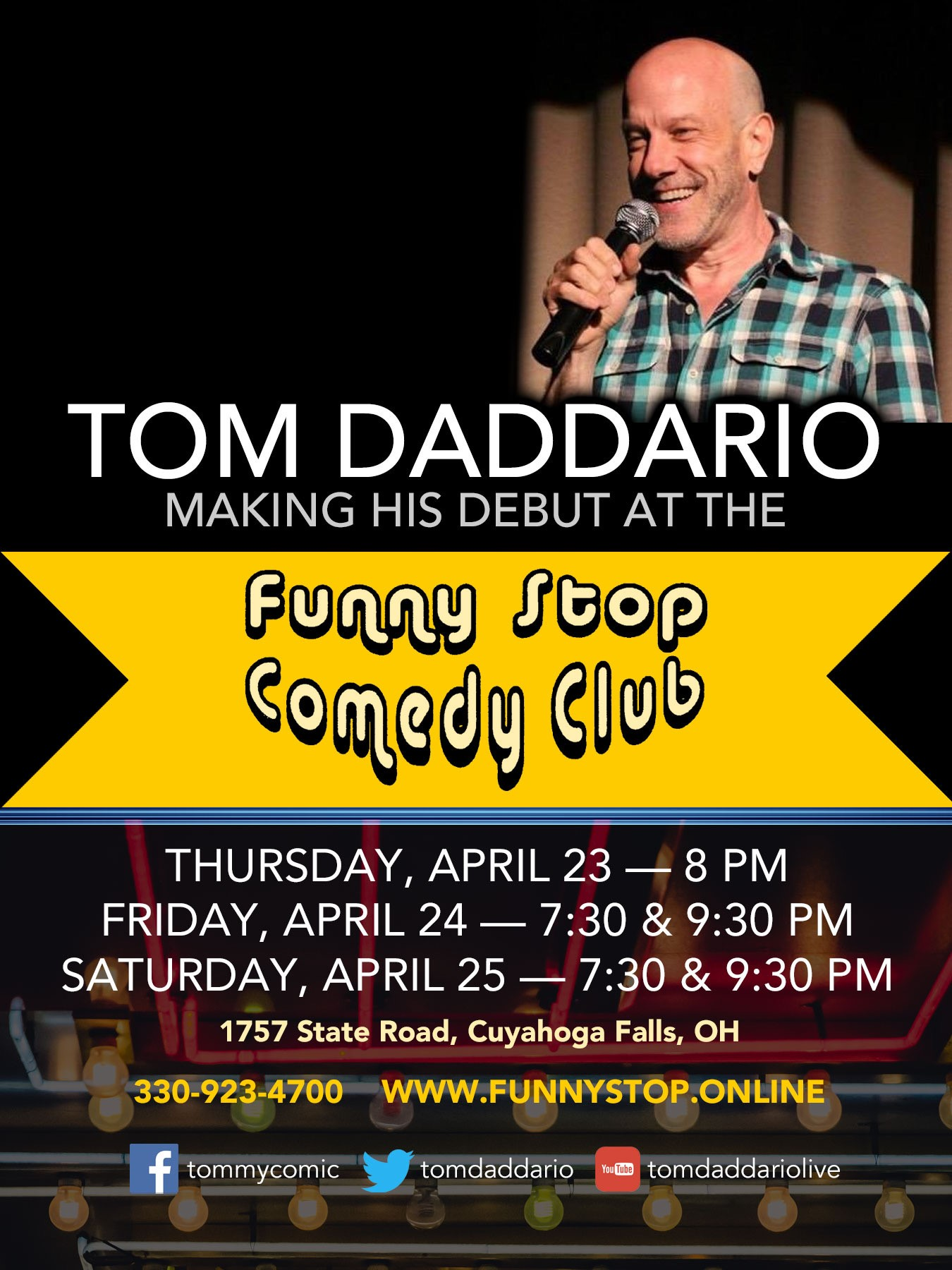 Tom Daddario 7:30 Show  on abr. 24, 19:30@Funny Stop Comedy Club - Buy tickets and Get information on Funny Stop funnystop.online