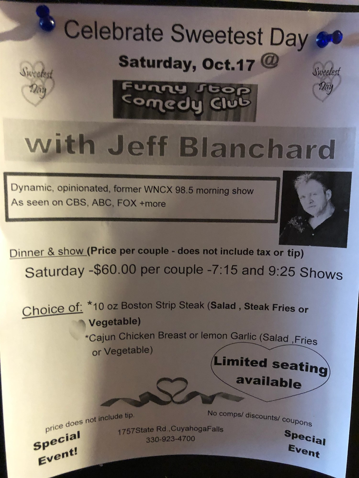 Jeff Blanchard 7:15 Show  on Oct 17, 19:15@Funny Stop Comedy Club - Buy tickets and Get information on Funny Stop funnystop.online