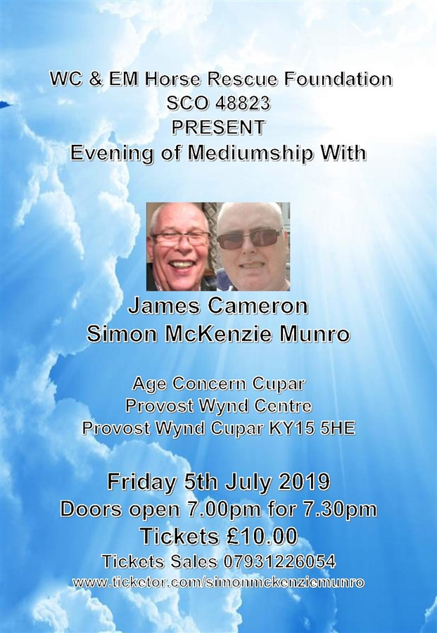 Get Information and buy tickets to EVENING OF MEDIUMSHIP AT AGE CONCERN CUPAR  on simonmckenziemunro