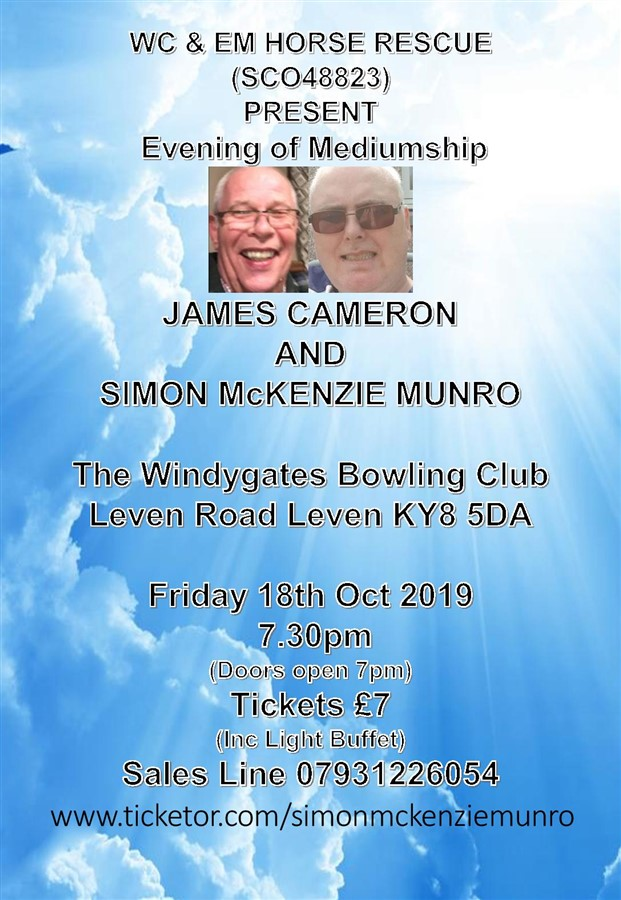 Get Information and buy tickets to Evening of Mediumship at Windygates Bowling Club  on simonmckenziemunro