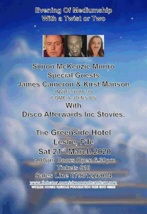 Get Information and buy tickets to EVENING OF MEDIUMSHIP & DISCO GREENSIDE HOTEL LESLIE  on simonmckenziemunro