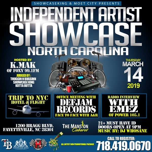 Get Information and buy tickets to INDEPENDENT ARTIST SHOWCASE: NORTH CAROLINA  on SHOWCASE KING LLC.